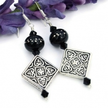 CELTIC MIDNIGHT - Pewter Celtic Design Lampwork Earrings, Handmade Black Jewelry