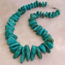 THE ROAD TO ENSENADA - Turquoise Necklace, Handmade Chunky Gemstone Nuggets Silver Beaded