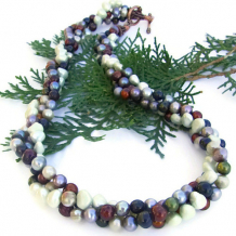 NATURE'S BOUNTY - Multi Strand Pearl Handmade Necklace, Twisted Copper Autumn Jewelry