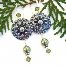 ELEGANTE - Bali Style Pewter Flower Shield Handmade Earrings, Swarovski Pearl Khaki