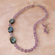 DANCING IN THE ISLES - Paua Shell Lavender Amethyst Purple Sterling Handmade Necklace