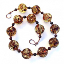 GLOWING ORBS - Chunky Amber Handmade Necklace Pearls Unique Jewelry Glowing