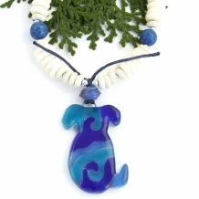BLUE DOG - Blue Dog Recycled Glass Pendant Necklace, Bone Riverstone Handmade Jewelry