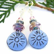 BUE SUN - Blue Sun Handmade Boho Earrings, Rustic Artisan Ceramic Lampwork Jewelry