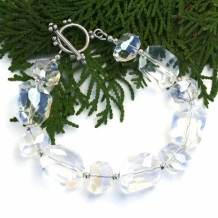 """Clearly Sparkly"" - AAA Crystal Quarts Handmade Necklace, Faceted Nuggets Sterling Artisan Bracelet"