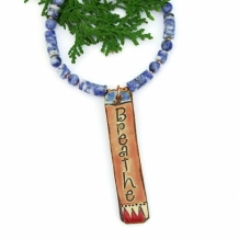 Breathe - Breathe Pendant Necklace, Yoga Jewelry Ceramic Sodalite Gemstone Artisan Handmade