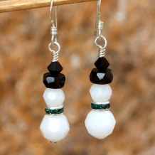 ELEGANT SNOWMEN - Christmas Snowman Swarovski Crystal Handmade Earrings, Winter Jewelry