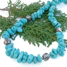 TURQUOISE TREASURE - Southwestern Turquoise Nugget Handmade Necklace, Bali Sterling