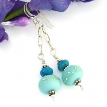 KRYPTONITE DELIGHT - Kryptonite Mint Lampwork Earrings, Turquoise Handmade Jewelry