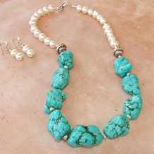 TULAROSA - Turquoise Nuggets Pearls Sterling Handmade Necklace