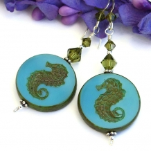 """Caballitos del Mar"" - Sea Horse Handmade Earrings, Turquoise Khaki Swarovski Crystal Artisan Beach Jewelry"