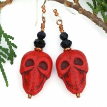 CALAVERAS ROJAS - Red Skull Halloween Earrings, Day of the Dead Dia de los Muertos Jewelry