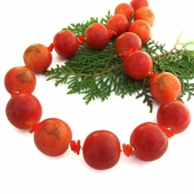 CARIBBEAN SUNSET - Chunky Apple Coral Handmade Necklace, Red Coral Summer Beach Jewelry