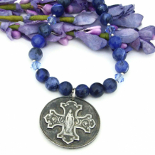 BLESSED MOTHER - Virgin Mary Necklace, Catholic Bless This Woman Cross Handmade Jewelry