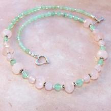 SPRING ROSE - Rose Quartz Chrysoprase Pink Green Gemstone Necklace, Handmade Jewelry