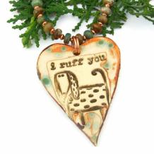 I RUFF YOU - Dog Heart Necklace, I Ruff You Ceramic Turquoise Handmade Jewelry Gift