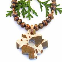 CHAKANA - Inca Cross Necklace, Leopardite Jasper Pearls Chakana Handmade Jewelry