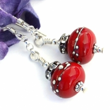 """Cherry Bomb"" - Cherry Bomb Red Christmas Earrings, Lampwork Crystal Holiday Artisan Dangle Jewelry"