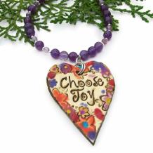CHOOSE JOY - Choose Joy Heart Necklace, Flowers Purple Amethyst Handmade Jewelry