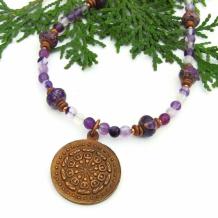 DHARMACHAKRA - Dharma Wheel Mandala Necklace, Dharmachakra Handmade Gemstone Jewelry
