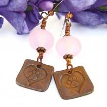 Dog Paw Hearts Handmade Earrings, Copper Pink Lampwork Rescue Jewelry