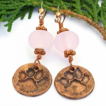 FOREVER - Copper Dog Paw Print Earrings, Handmade Pink Lampwork Rescue Jewelry