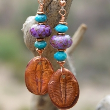 ANCIENT ARIA - Copper Trilobite Handmade Earrings, Lampwork Turquoise Beaded Jewelry