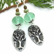 """Craobhan"" - Tree of Life Earrings, Green Lampwork Czech Glass Handmade Artisan Dangle Jewelry"