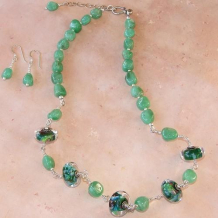LIZARD TALK - Lampwork Chrysoprase Wire Wrapped Handmade Necklace