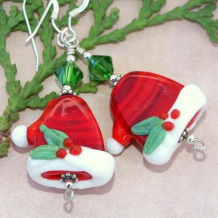SANTA'S HATS - Christmas Santa Hats Lampwork Swarovski Earrings, Handmade Holly