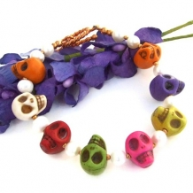 Day of the Dead Halloween Skull Handmade Bracelet Pearls