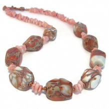 CANYONLANDS - Sea Sediment Jasper Shell Gemstone Necklace Handmade Jewelry