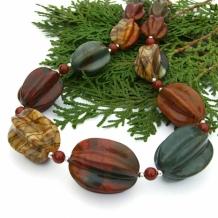 """Desert Sunset"" - Chunky Handmade Necklace, Red Creek Jasper Earthy Gemstone Artisan Beaded Jewelry"
