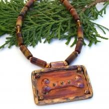"""Dog Dreams"" - Dog Rescue Necklace, Artisan Copper Bone Pendant, Tigers Eye Swarovski Handmade Jewelry"