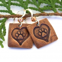 """Dog Love"" - Copper Dog Paw Print Earrings, Sterling Silver Artisan Handmade Earrings"
