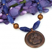 """Dog Love"" - Dog Paw Print and St Francis Pendant Necklace, Blue Sodalite Handmade Rescue Jewelry"