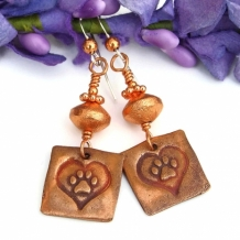 DOG LOVE - Dog Rescue Copper Paw Print and Hearts Earrings, Handmade  Jewelry