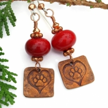"""Dog Love"" - Dog Love Handmade Earrings, Copper Paw Prints and Hearts, Red Lampwork Jewelry"