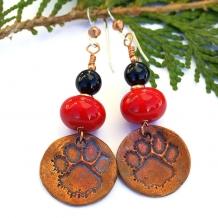 """Dog Love"" - Handmade Dog Rescue Pawprint Earrings, Red Lampwork Artisan Jewelry"