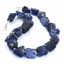 """Don't Have the Blues"" - Blue Sodalite Handmade Necklace, Rough Nugget Sterling Gemstone Artisan Jewelry"