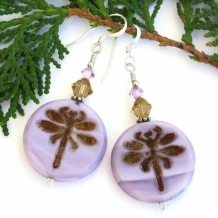 """""""Dragonfly Dreams"""" - Lilac Purple Handmade Dragonfly Earrings, Swarovski Czech Glass Artisan Jewelry"""