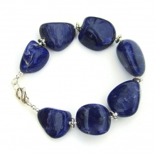 """Got No Blues"" - Chunky Sodalite Nugget Bracelet, Sterling Silver Handmade Gemstone Jewelry"