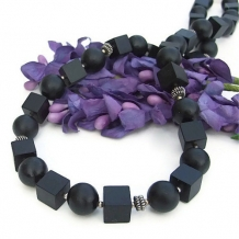 A CUBIST'S DAYDREAM - Black Onyx Handmade Necklace, Cubes Rounds Sterling Unique Jewelry