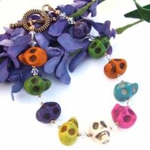 A SKULL FIESTA - Day of the Dead Skull Bracelet Handmade Swarovski Unique Jewelry