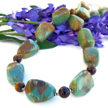 SOUL OF THE SOUTHWEST - Handmade Chunky American Turquoise Necklace, Tigers Eye Gemstones