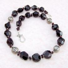 CONCERTO - Garnet Chunky Handmade Necklace, Gemstone Jewelry Birthstone