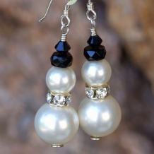 ELEGANT SNOWMEN - Swarovski Pearl Snowman Earrings, Handmade Christmas Holiday Jewelry