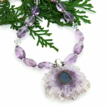"""Earth Flower"" - Amethyst Stalactite Druzy Necklace, Lavender Amethyst Gemstone Handmade Beaded Jewelry"