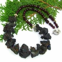 """Earth Magic"" - Rainbow Peacock Druzy Necklace, Red Garnet Handmade Artisan Gemstone Jewelry"