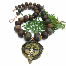 SÍOCHÁNTA - Peaceful Goddess Spiral Necklace, Earthy Jasper Handmade Jewelry